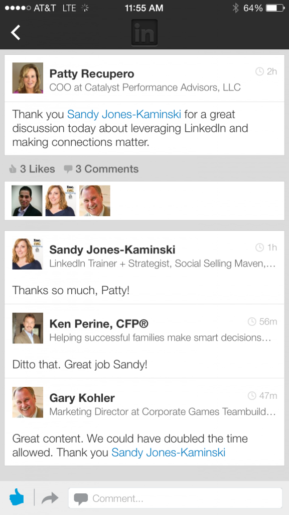 Kudos for Sandy from Leveraging LinkedIn and Networking to Build Buzz, Generate Leads and Increase Your Connections
