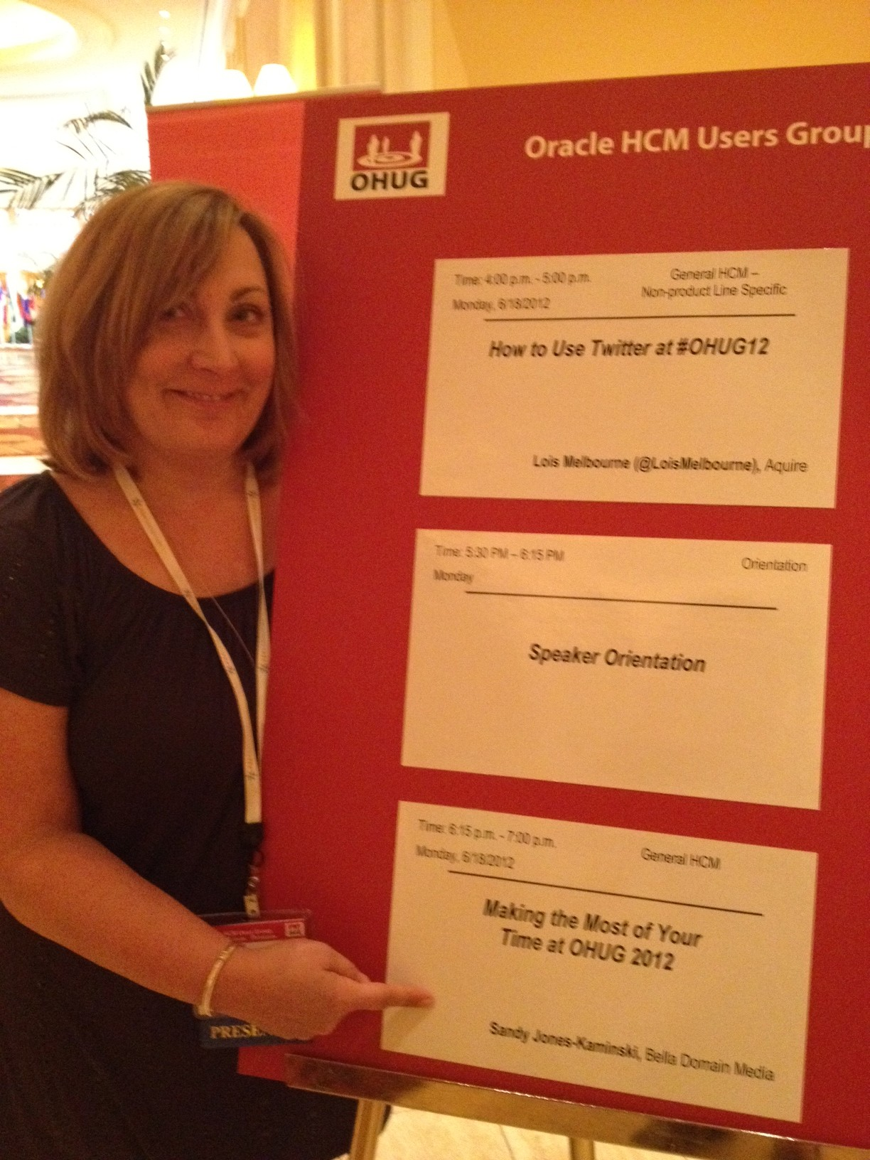 Sandy Jones-Kaminski at OHUG 2012 (session sign)