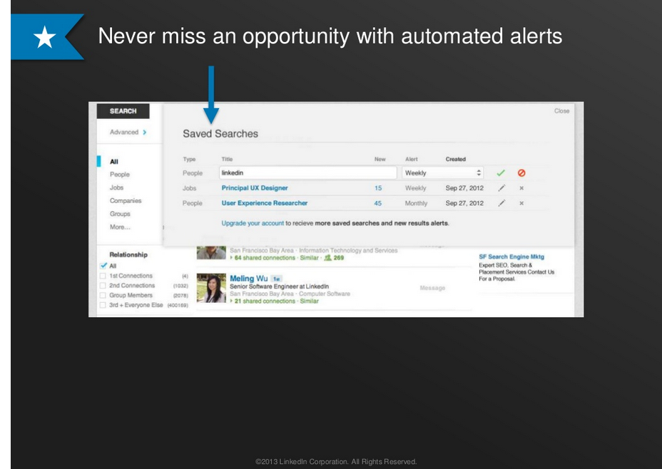 Check out LinkedIn's Google-like alerts