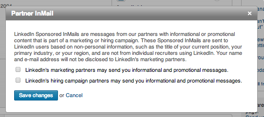 InMails for partners of LinkedIn - find in Settings/Communications