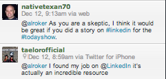 A few tweets about Al Roker's LinkedIn blast