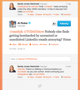 SandyJK schools Al Roker on his LinkedIn Settings