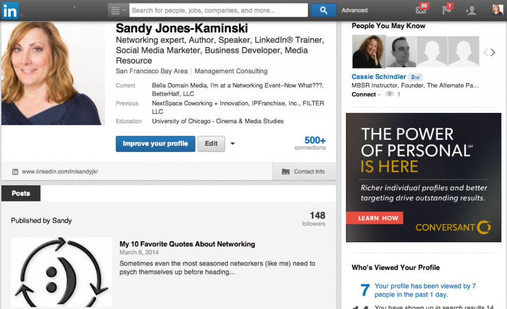 LinkedIn 1st post on Sandy's profile