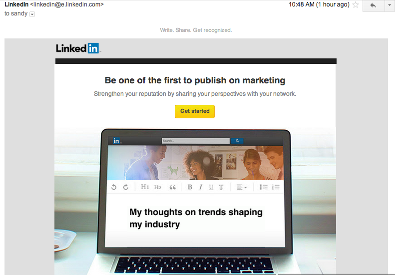 LinkedIn Publisher program welcome email