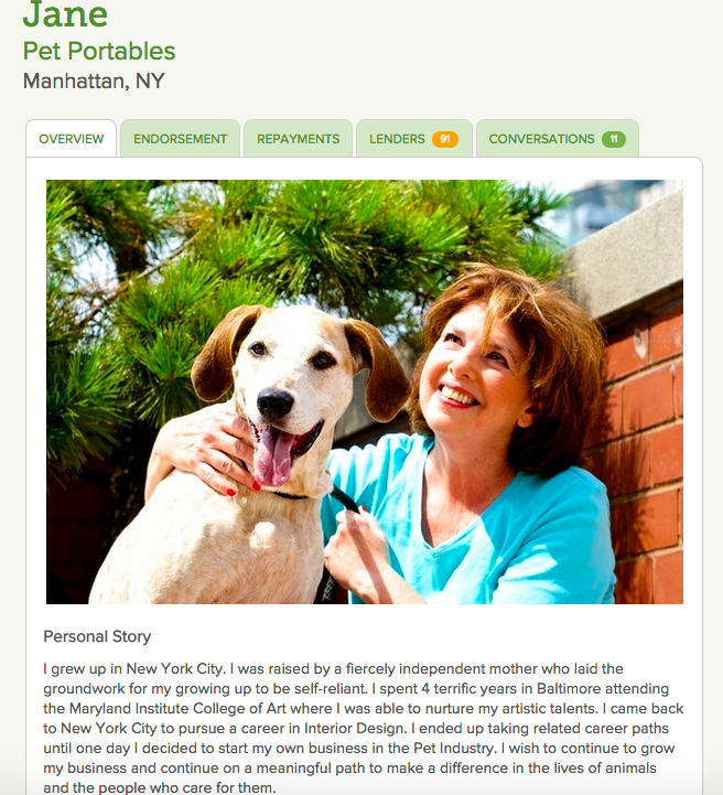 Jane on Kiva for her Pet Portables Zip